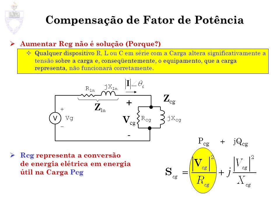 Compensação de Fator de Potência Aumentar Rcg não é solução (Porque?) Aumentar Rcg não é solução (Porque?) Qualquer dispositivo R, L ou C em série com