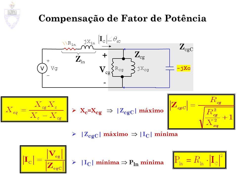 Compensação de Fator de Potência X c =X cg |Z cgC | máximo X c =X cg |Z cgC | máximo |Z cgC | máximo |I C | mínima |Z cgC | máximo |I C | mínima |I C
