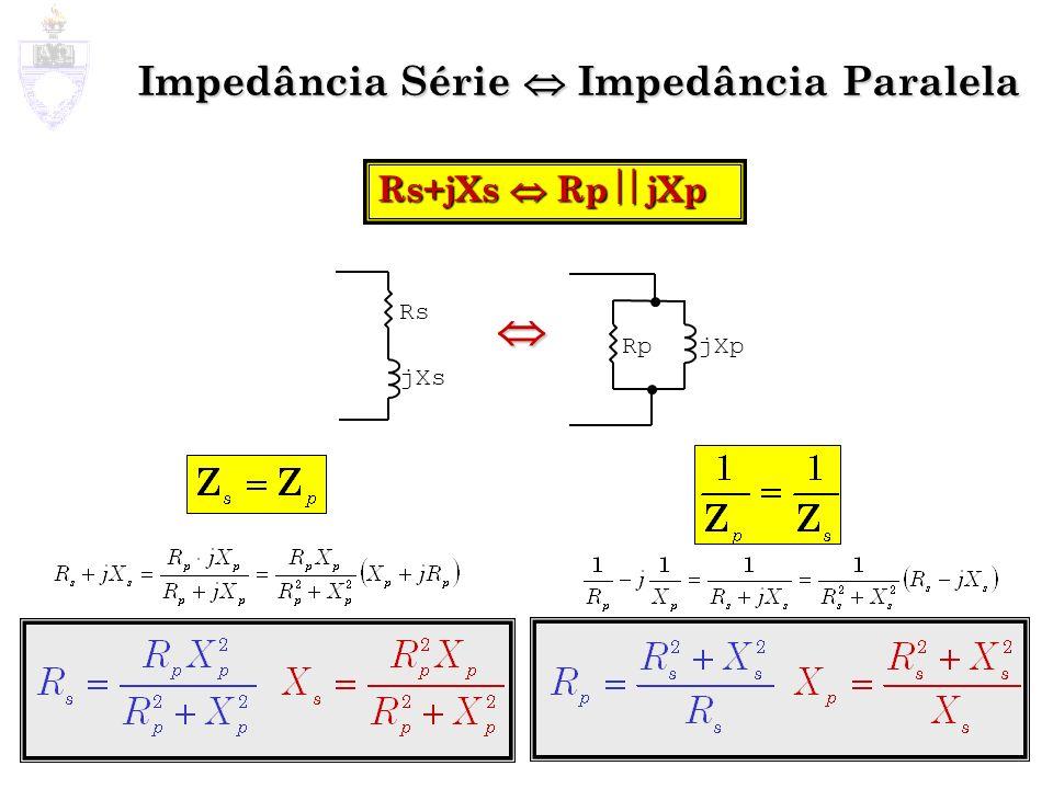 Impedância Série Impedância Paralela Rs+jXs Rp jXp jXpRp Rs jXs