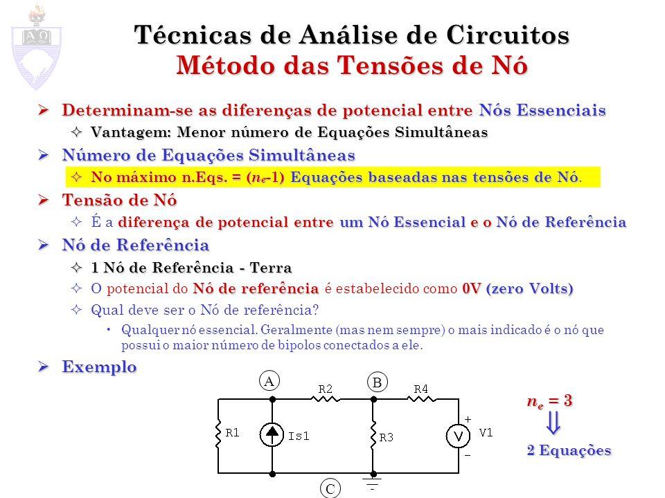 Método das Tensões de Nó Como determinar as tensões e correntes nos elementos básicos do circuito conhecendo-se as tensões de Nó.