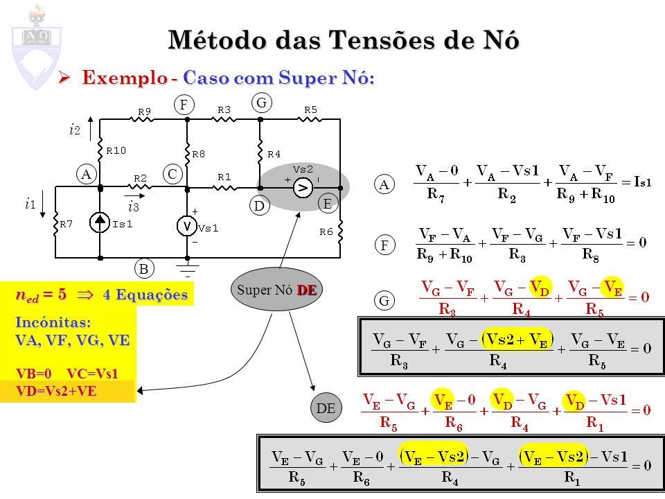 Método das Tensões de Nó Exemplo - Caso com Fontes Controladas: Exemplo - Caso com Fontes Controladas: ix A B C A B Escrever as fontes controladas como função das tensões de Nó Substituí-las nas equações de tensão de Nó