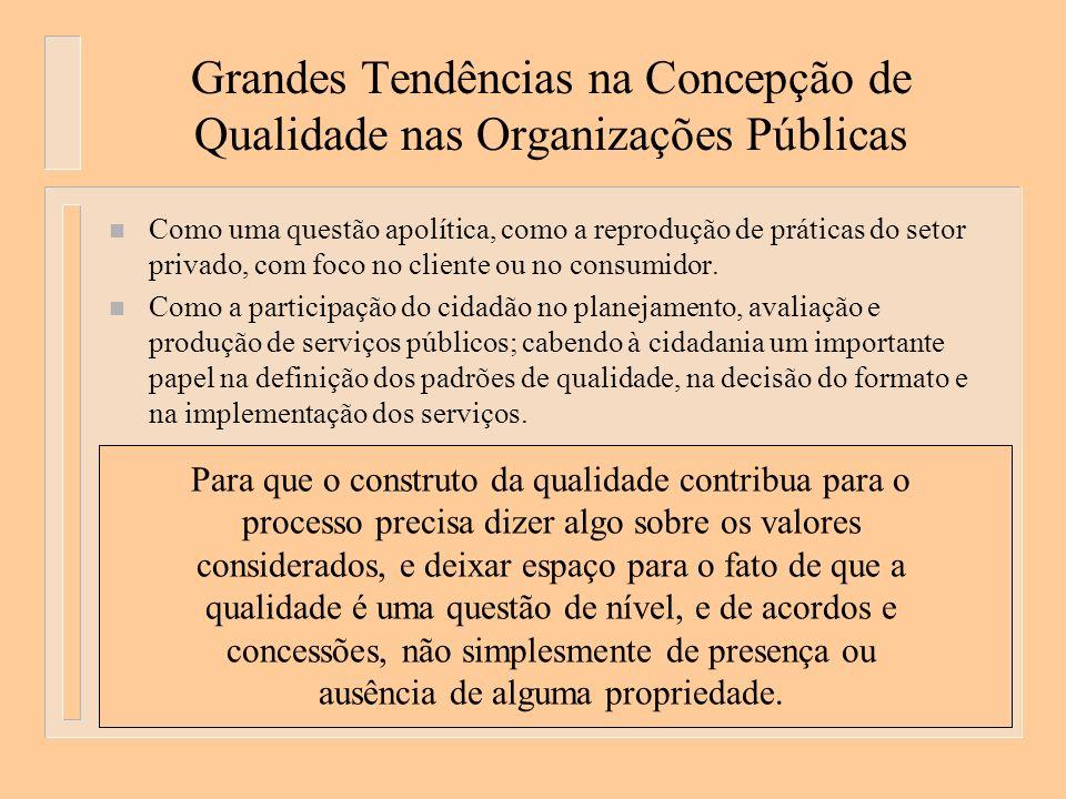 Grandes Tendências na Concepção de Qualidade nas Organizações Públicas n Como uma questão apolítica, como a reprodução de práticas do setor privado, com foco no cliente ou no consumidor.