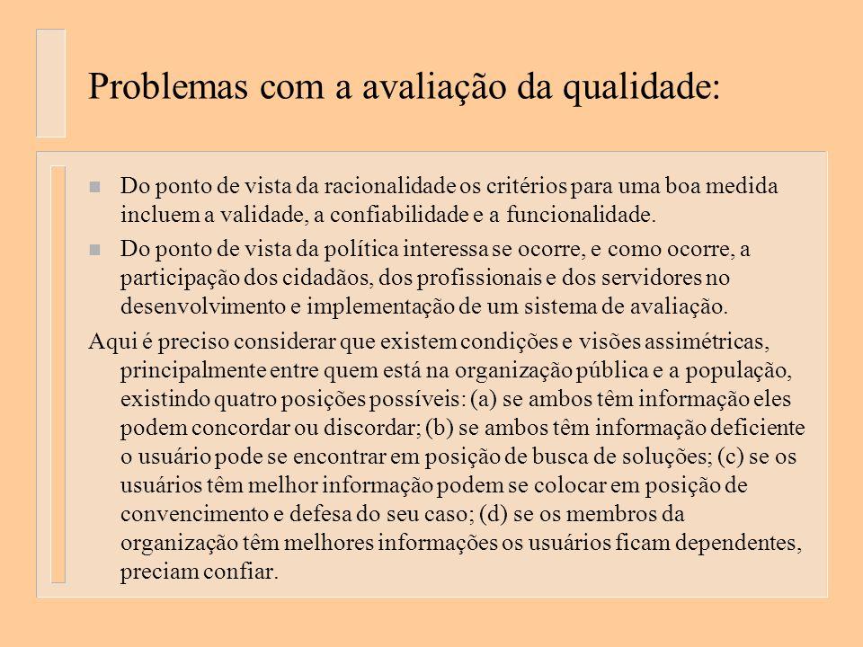 Problemas com a avaliação da qualidade: n Do ponto de vista da racionalidade os critérios para uma boa medida incluem a validade, a confiabilidade e a