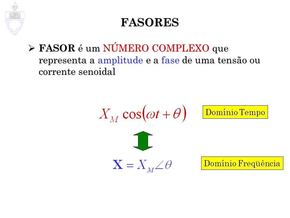 FASORES FASOR é um NÚMERO COMPLEXO que representa a amplitude e a fase de uma tensão ou corrente senoidal FASOR é um NÚMERO COMPLEXO que representa a