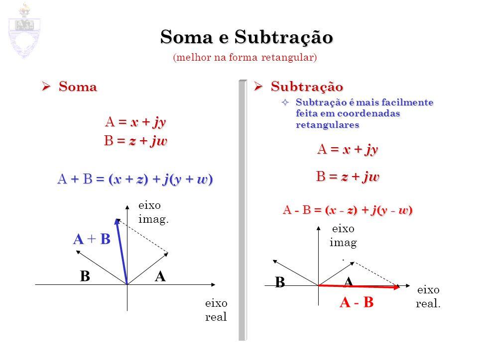 Soma e Subtração Soma Soma A = x + jy B = z + jw A + B = ( x + z ) + j ( y + w ) Subtração Subtração é mais facilmente feita em coordenadas retangular