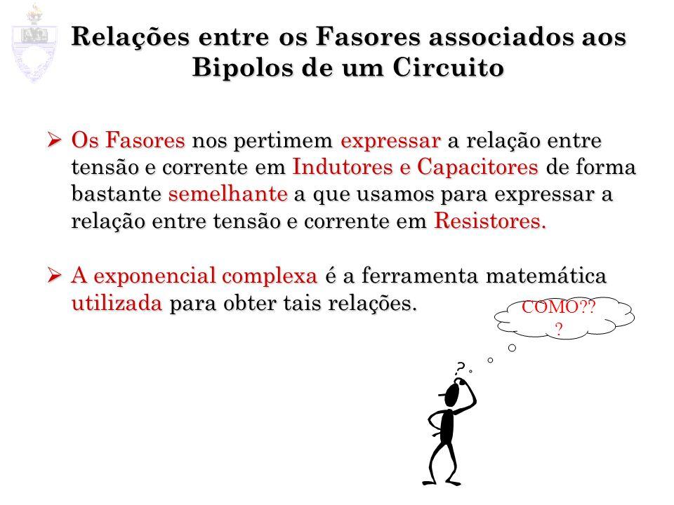 Relações entre os Fasores associados aos Bipolos de um Circuito Os Fasores nos pertimem expressar a relação entre tensão e corrente em Indutores e Cap