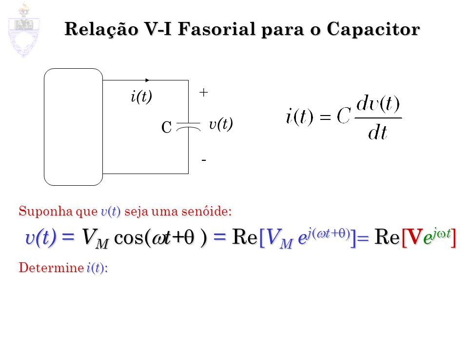 Relação V-I Fasorial para o Capacitor Suponha que v ( t ) seja uma senóide: v(t) = V M cos( t+ ) = Re[ V M e j ( t+ Re[ V e j t ] Determine i ( t ): C