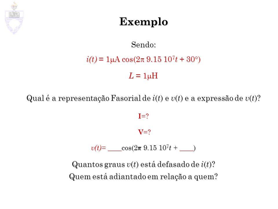 Exemplo Sendo: i(t) = 1 A cos(2 9.15 10 7 t + 30 ) L = 1 H Qual é a representação Fasorial de i ( t ) e v ( t ) e a expressão de v ( t )? I =? V =? V