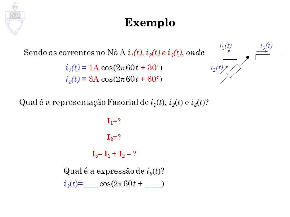 Exemplo Sendo as correntes no Nó A i 1 (t), i 2 (t) e i 3 (t), onde i 1 (t) = 1A cos(2 60 t + 30 ) i 2 (t) = 3A cos(2 60 t + 60 ) Qual é a representaç
