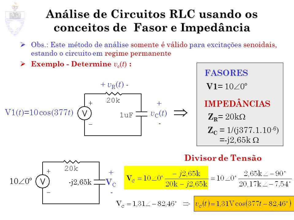 Análise de Circuitos RLC usando os conceitos de Fasor e Impedância Obs.: Este método de análise somente é válido para excitações senoidais, estando o