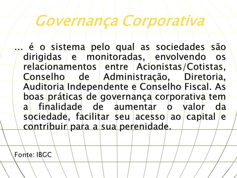 ... é o sistema pelo qual as sociedades são dirigidas e monitoradas, envolvendo os relacionamentos entre Acionistas/Cotistas, Conselho de Administraçã