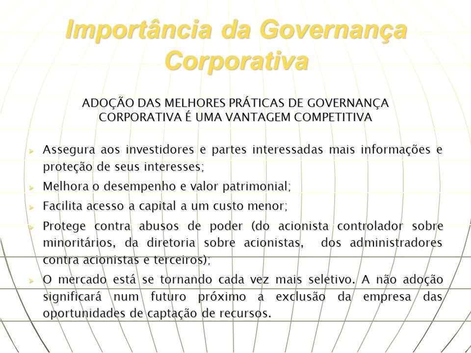 ADOÇÃO DAS MELHORES PRÁTICAS DE GOVERNANÇA CORPORATIVA É UMA VANTAGEM COMPETITIVA Assegura aos investidores e partes interessadas mais informações e p