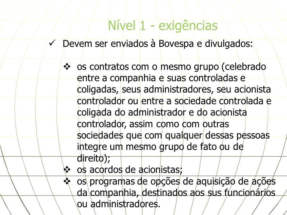Devem ser enviados à Bovespa e divulgados: os contratos com o mesmo grupo (celebrado entre a companhia e suas controladas e coligadas, seus administra