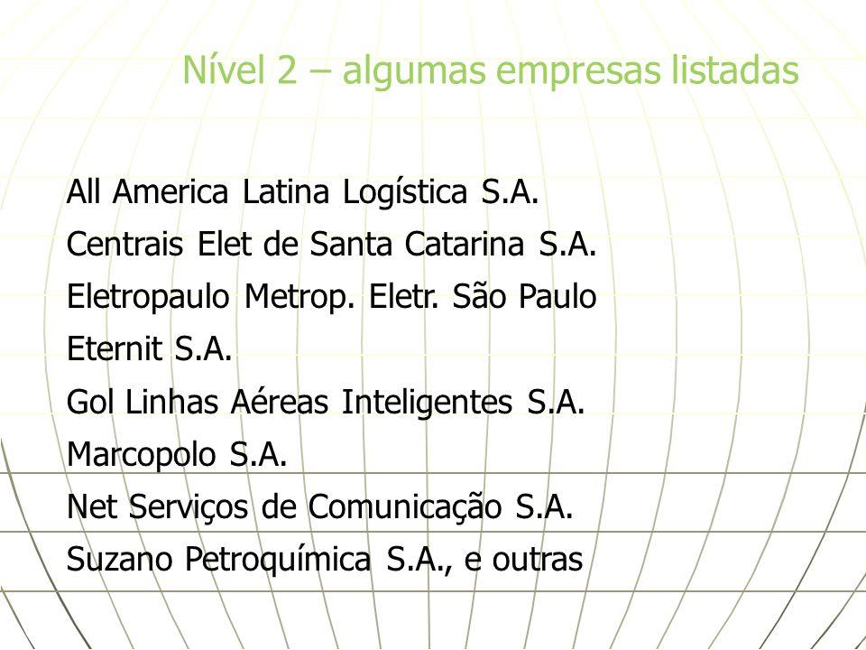 All America Latina Logística S.A. Centrais Elet de Santa Catarina S.A. Eletropaulo Metrop. Eletr. São Paulo Eternit S.A. Gol Linhas Aéreas Inteligente
