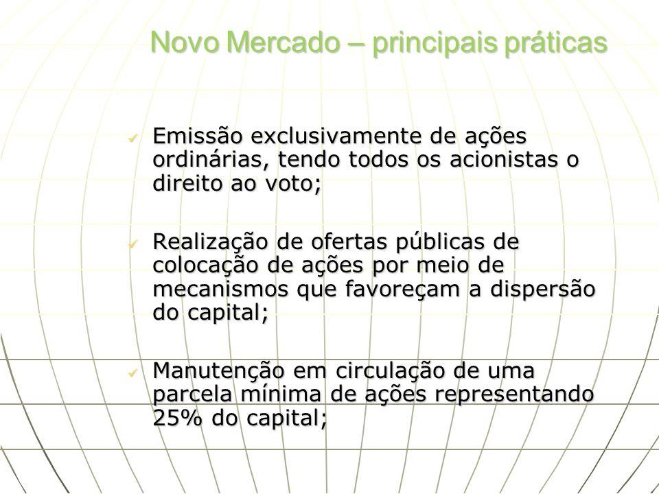 Novo Mercado – principais práticas Emissão exclusivamente de ações ordinárias, tendo todos os acionistas o direito ao voto; Emissão exclusivamente de