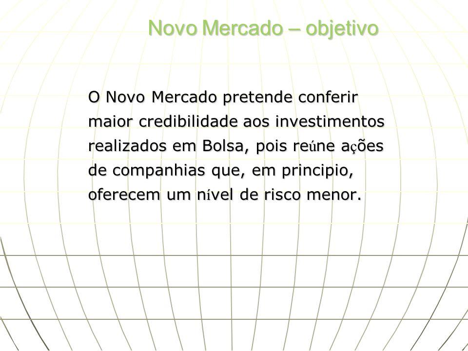 Novo Mercado – objetivo O Novo Mercado pretende conferir maior credibilidade aos investimentos realizados em Bolsa, pois re ú ne a ç ões de companhias