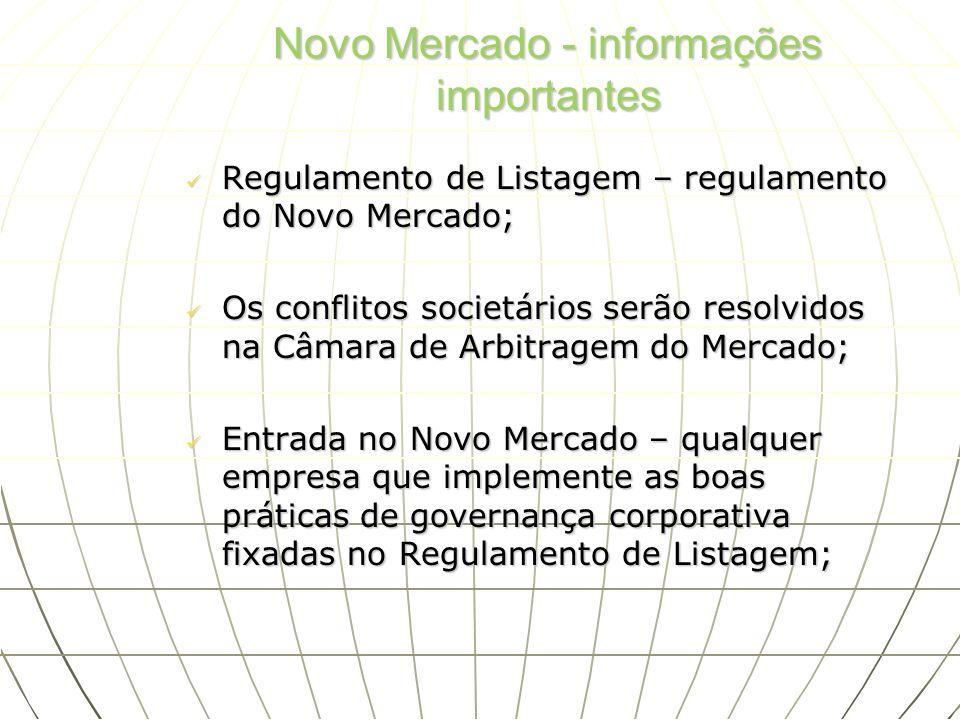 Novo Mercado - informações importantes Regulamento de Listagem – regulamento do Novo Mercado; Regulamento de Listagem – regulamento do Novo Mercado; O