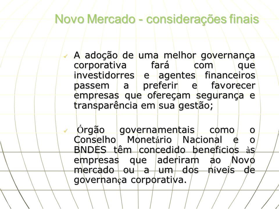 Novo Mercado - considerações finais A adoção de uma melhor governança corporativa fará com que investidorres e agentes financeiros passem a preferir e