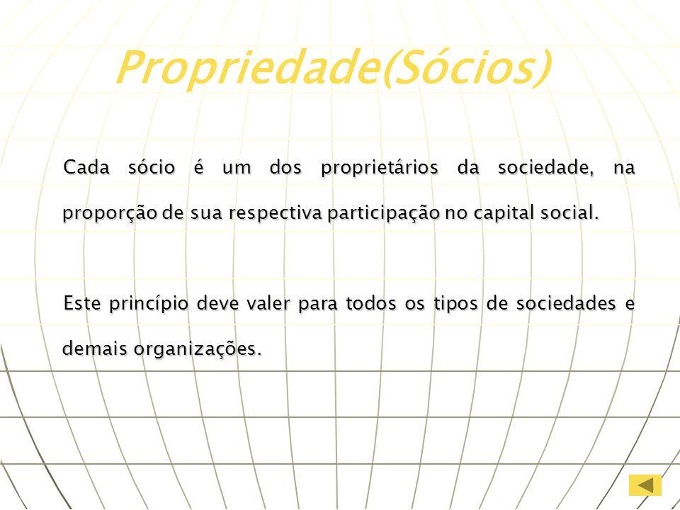 Cada sócio é um dos proprietários da sociedade, na proporção de sua respectiva participação no capital social. Este princípio deve valer para todos os