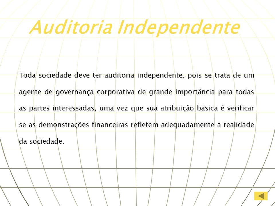 Toda sociedade deve ter auditoria independente, pois se trata de um agente de governança corporativa de grande importância para todas as partes intere