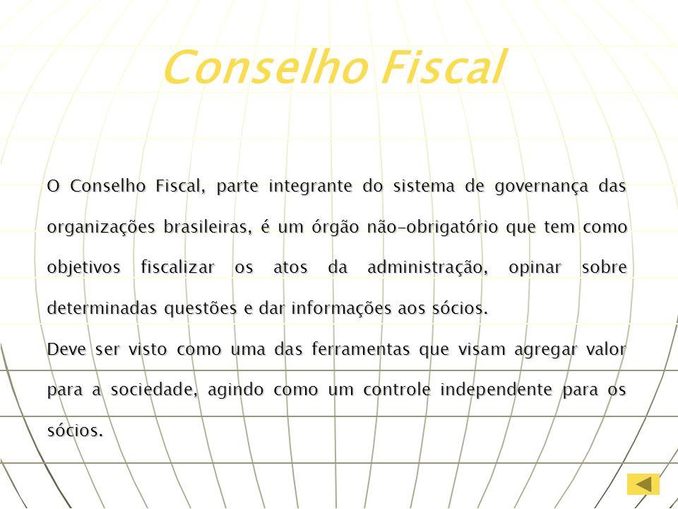 O Conselho Fiscal, parte integrante do sistema de governança das organizações brasileiras, é um órgão não-obrigatório que tem como objetivos fiscaliza