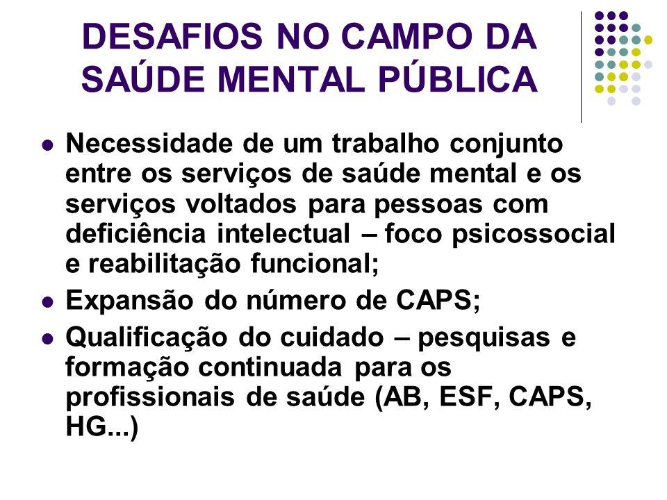 DESAFIOS NO CAMPO DA SAÚDE MENTAL PÚBLICA Necessidade de um trabalho conjunto entre os serviços de saúde mental e os serviços voltados para pessoas co