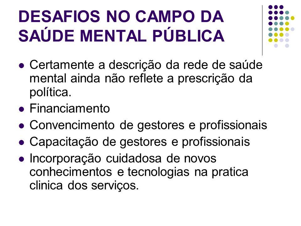 DESAFIOS NO CAMPO DA SAÚDE MENTAL PÚBLICA Certamente a descrição da rede de saúde mental ainda não reflete a prescrição da política. Financiamento Con