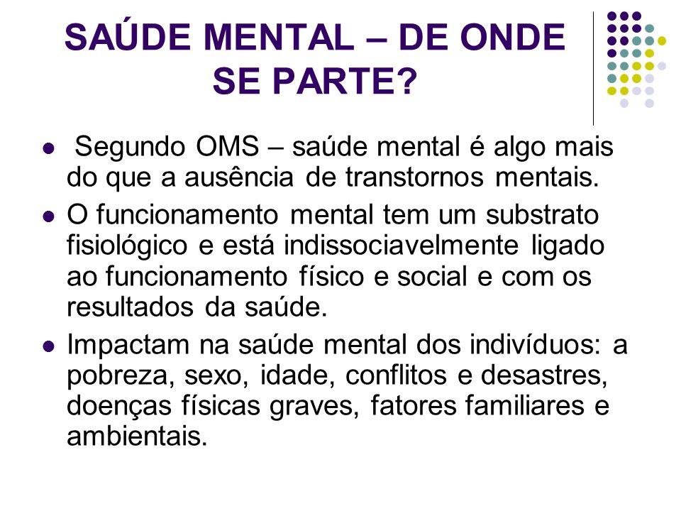 SAÚDE MENTAL – DE ONDE SE PARTE? Segundo OMS – saúde mental é algo mais do que a ausência de transtornos mentais. O funcionamento mental tem um substr