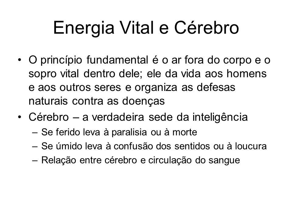 Energia Vital e Cérebro O princípio fundamental é o ar fora do corpo e o sopro vital dentro dele; ele da vida aos homens e aos outros seres e organiza