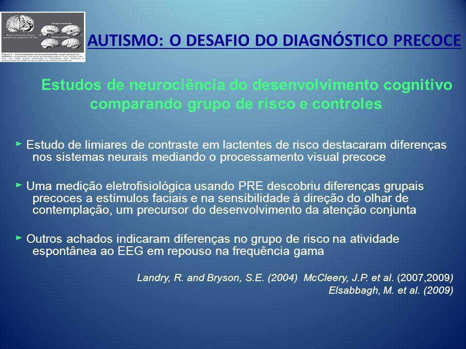 AUTISMO: O DESAFIO DO DIAGNÓSTICO PRECOCE Estudo de limiares de contraste em lactentes de risco destacaram diferenças nos sistemas neurais mediando o