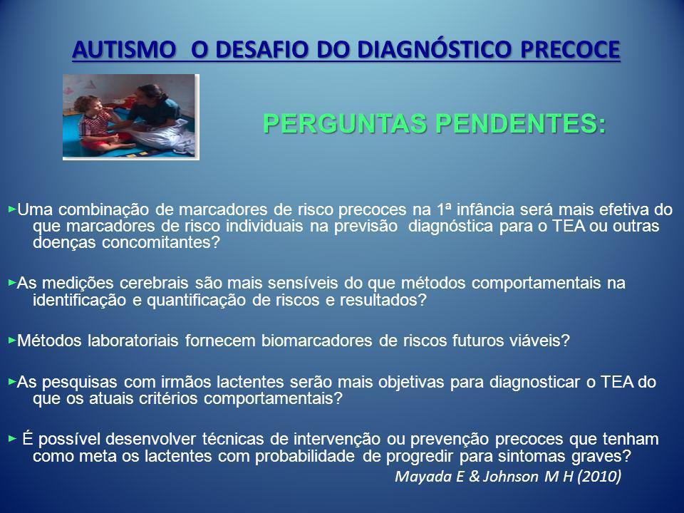 AUTISMO O DESAFIO DO DIAGNÓSTICO PRECOCE Uma combinação de marcadores de risco precoces na 1ª infância será mais efetiva do que marcadores de risco in