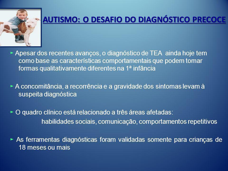 AUTISMO: O DESAFIO DO DIAGNÓSTICO PRECOCE Apesar dos recentes avanços, o diagnóstico de TEA ainda hoje tem como base as características comportamentai