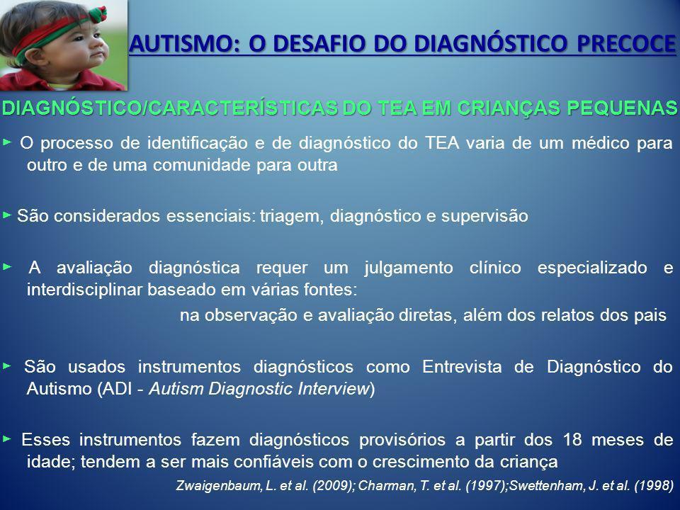 AUTISMO: O DESAFIO DO DIAGNÓSTICO PRECOCE O processo de identificação e de diagnóstico do TEA varia de um médico para outro e de uma comunidade para o