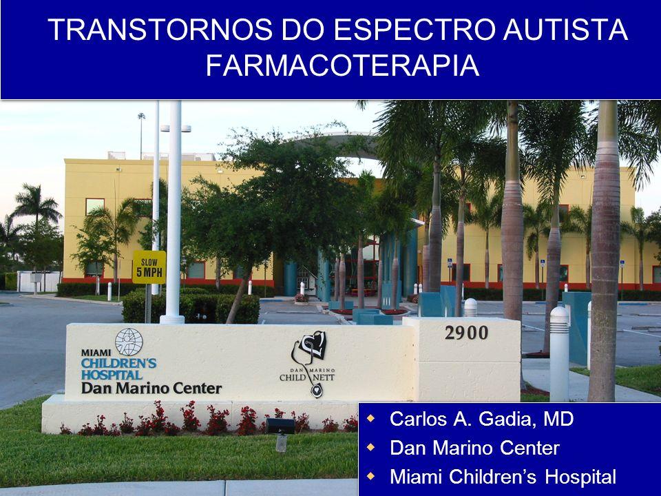 Aripiprazole em Autismo Estudo DCPC: 98 autistas (idade média 9 anos) 8 semanas de doses flexíveis de aripiprazole: começando com 2mg e aumentando até 15 mg se necessário (dose média 8.5mg) Medidas primárias de eficácia : ABC-I e CGI A partir da 1a semana o grupo com medicação separou de placebo Efeitos colaterais (> 5% e 2x > placebo) - Sedação, sintomas extrapiramidais - Ganho de peso: 1.9 kg x 0.5kg placebo (20% < estudo comparavel com risperidona ) Owen, R.
