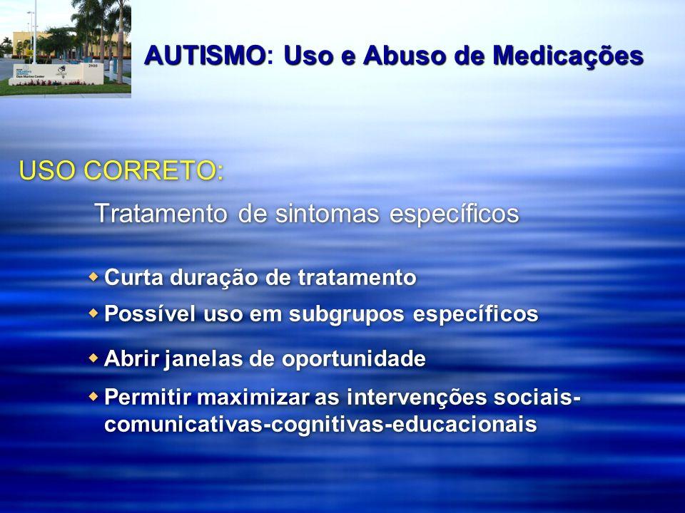 Estudos Duplo-cegos Controlados por Placebo em Autismo/TEA Anti-psicóticos (n=531) Anti-psicóticos (n=531) Haloperidol: 4 estudos Haloperidol: 4 estudos Risperidona: 4 estudos Risperidona: 4 estudos Aripiprazole: 2 estudo Olanzepina: 1 estudo Fluoxetina: 2 estudos (n=61) Fluoxetina: 2 estudos (n=61) Fluvoxamina: 2 estudos (n=64) Fluvoxamina: 2 estudos (n=64) Clonidina: 2 estudos (n=15) Clonidina: 2 estudos (n=15) Clomipramina: 2 estudos (n=15) Clomipramina: 2 estudos (n=15) Buspirona: 1 estudo Buspirona: 1 estudo Metilfenidato: 1 estudo (n=10) Metilfenidato: 1 estudo (n=10) Naltrexone: 15 estudos (n= 180) Naltrexone: 15 estudos (n= 180) Fenfluramina: 14 estudos (n= 165) Fenfluramina: 14 estudos (n= 165) Piridoxina (Vitamina B-6): 5 estudos (n= 130) Piridoxina (Vitamina B-6): 5 estudos (n= 130) Secretina: 13 estudos (N >500) Secretina: 13 estudos (N >500) Anti-psicóticos (n=531) Anti-psicóticos (n=531) Haloperidol: 4 estudos Haloperidol: 4 estudos Risperidona: 4 estudos Risperidona: 4 estudos Aripiprazole: 2 estudo Olanzepina: 1 estudo Fluoxetina: 2 estudos (n=61) Fluoxetina: 2 estudos (n=61) Fluvoxamina: 2 estudos (n=64) Fluvoxamina: 2 estudos (n=64) Clonidina: 2 estudos (n=15) Clonidina: 2 estudos (n=15) Clomipramina: 2 estudos (n=15) Clomipramina: 2 estudos (n=15) Buspirona: 1 estudo Buspirona: 1 estudo Metilfenidato: 1 estudo (n=10) Metilfenidato: 1 estudo (n=10) Naltrexone: 15 estudos (n= 180) Naltrexone: 15 estudos (n= 180) Fenfluramina: 14 estudos (n= 165) Fenfluramina: 14 estudos (n= 165) Piridoxina (Vitamina B-6): 5 estudos (n= 130) Piridoxina (Vitamina B-6): 5 estudos (n= 130) Secretina: 13 estudos (N >500) Secretina: 13 estudos (N >500)