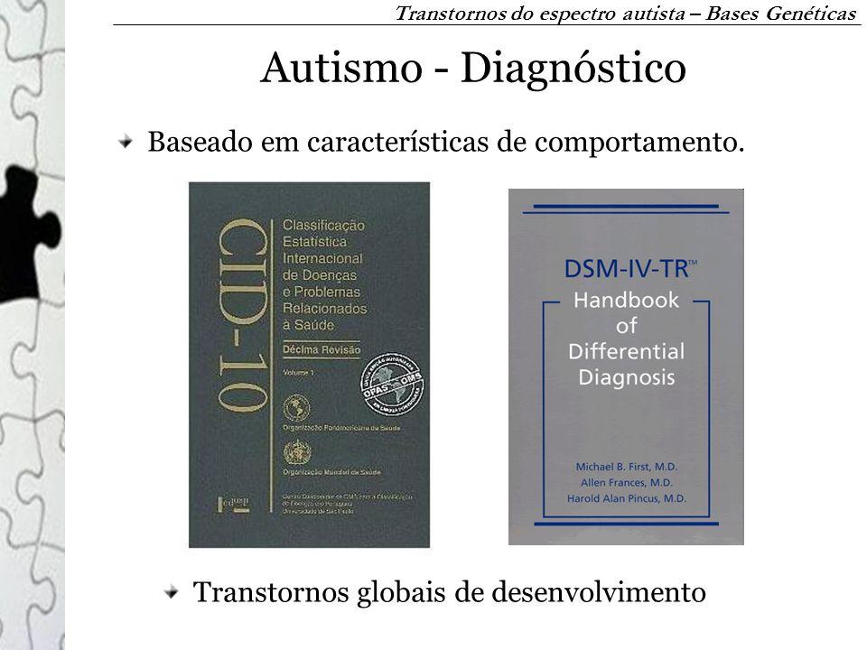Autismo - Diagnóstico Baseado em características de comportamento. Transtornos do espectro autista – Bases Genéticas Transtornos globais de desenvolvi