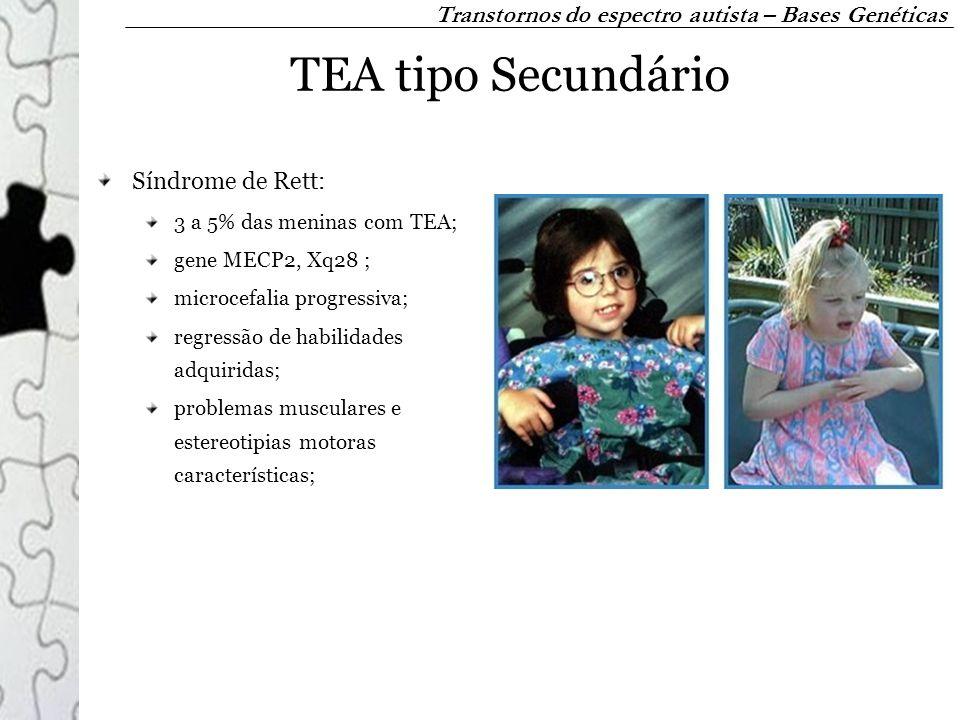 TEA tipo Secundário Síndrome de Rett: 3 a 5% das meninas com TEA; gene MECP2, Xq28 ; microcefalia progressiva; regressão de habilidades adquiridas; pr