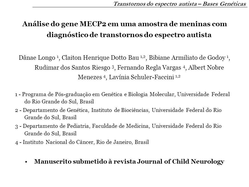 Análise do gene MECP2 em uma amostra de meninas com diagnóstico de transtornos do espectro autista Dânae Longo 1, Claiton Henrique Dotto Bau 1,2, Bibi