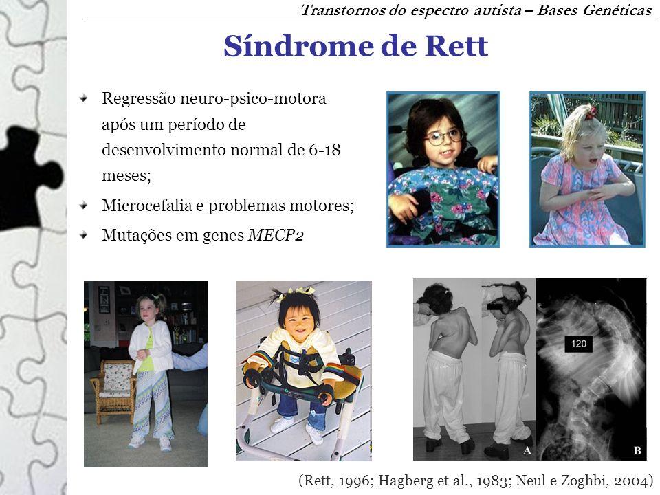 Síndrome de Rett Regressão neuro-psico-motora após um período de desenvolvimento normal de 6-18 meses; Microcefalia e problemas motores; Mutações em g