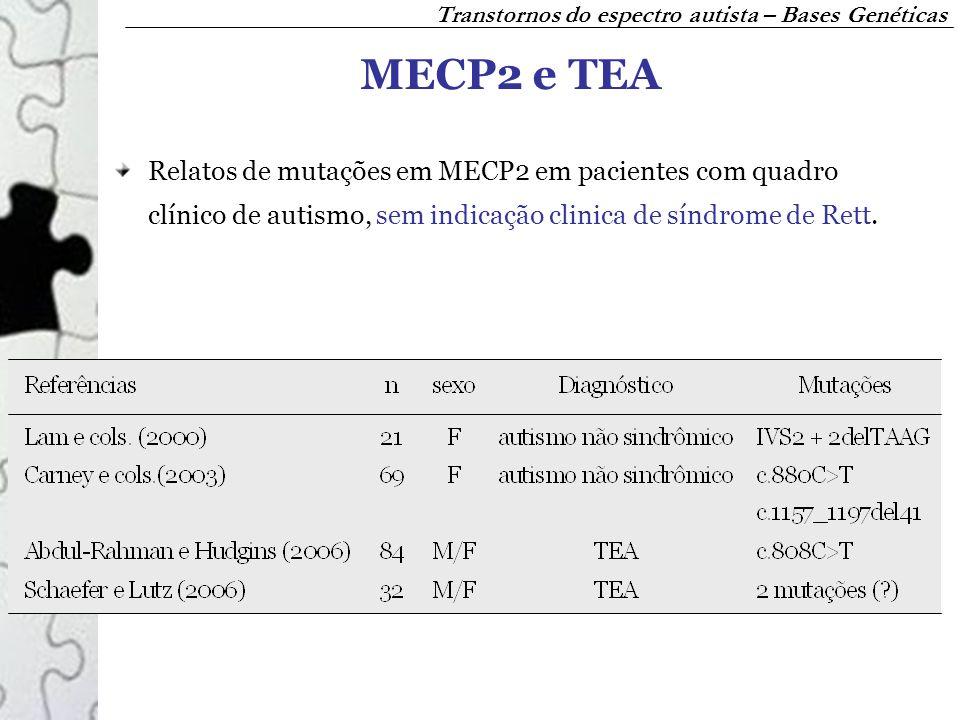 MECP2 e TEA Relatos de mutações em MECP2 em pacientes com quadro clínico de autismo, sem indicação clinica de síndrome de Rett. Transtornos do espectr