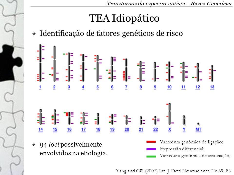 TEA Idiopático 94 loci possivelmente envolvidos na etiologia. Identificação de fatores genéticos de risco Transtornos do espectro autista – Bases Gené