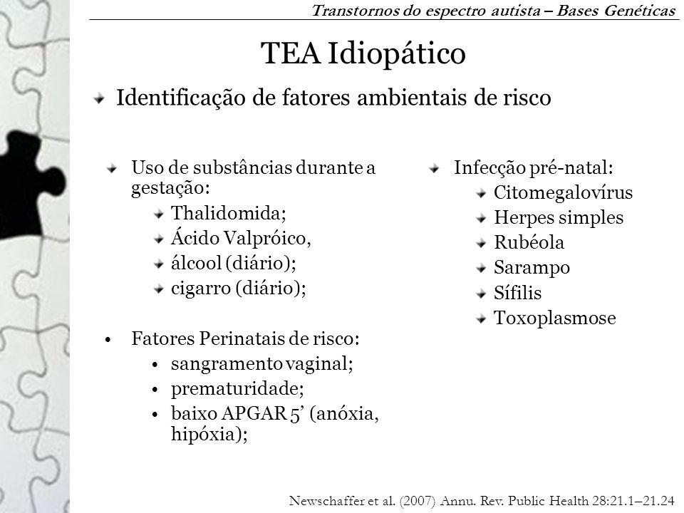 Uso de substâncias durante a gestação: Thalidomida; Ácido Valpróico, álcool (diário); cigarro (diário); Fatores Perinatais de risco: sangramento vagin