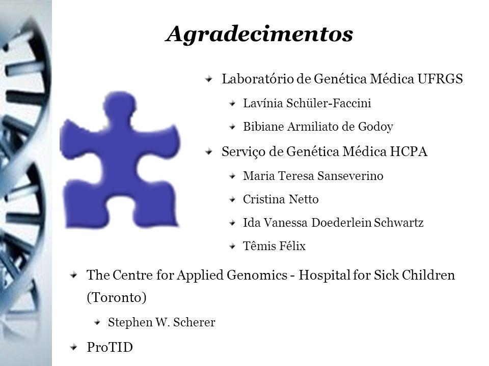 Agradecimentos Laboratório de Genética Médica UFRGS Lavínia Schüler-Faccini Bibiane Armiliato de Godoy Serviço de Genética Médica HCPA Maria Teresa Sa