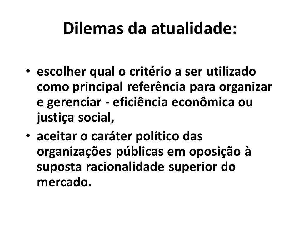 Dilemas da atualidade: escolher qual o critério a ser utilizado como principal referência para organizar e gerenciar - eficiência econômica ou justiça