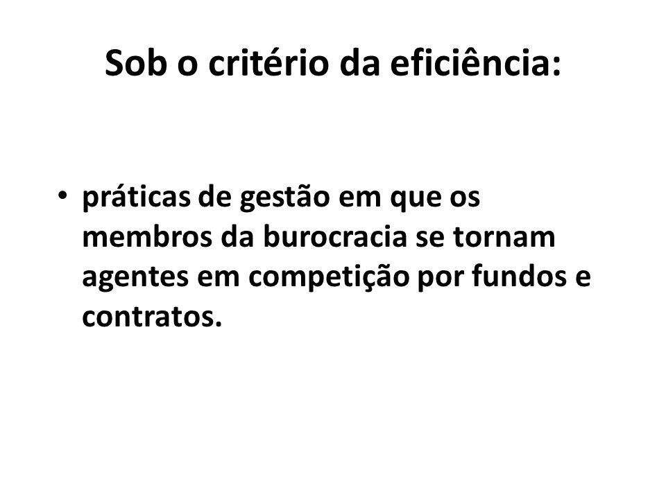 Sob o critério da eficiência: práticas de gestão em que os membros da burocracia se tornam agentes em competição por fundos e contratos.