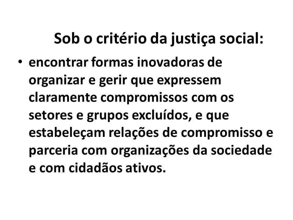 Sob o critério da justiça social: encontrar formas inovadoras de organizar e gerir que expressem claramente compromissos com os setores e grupos exclu