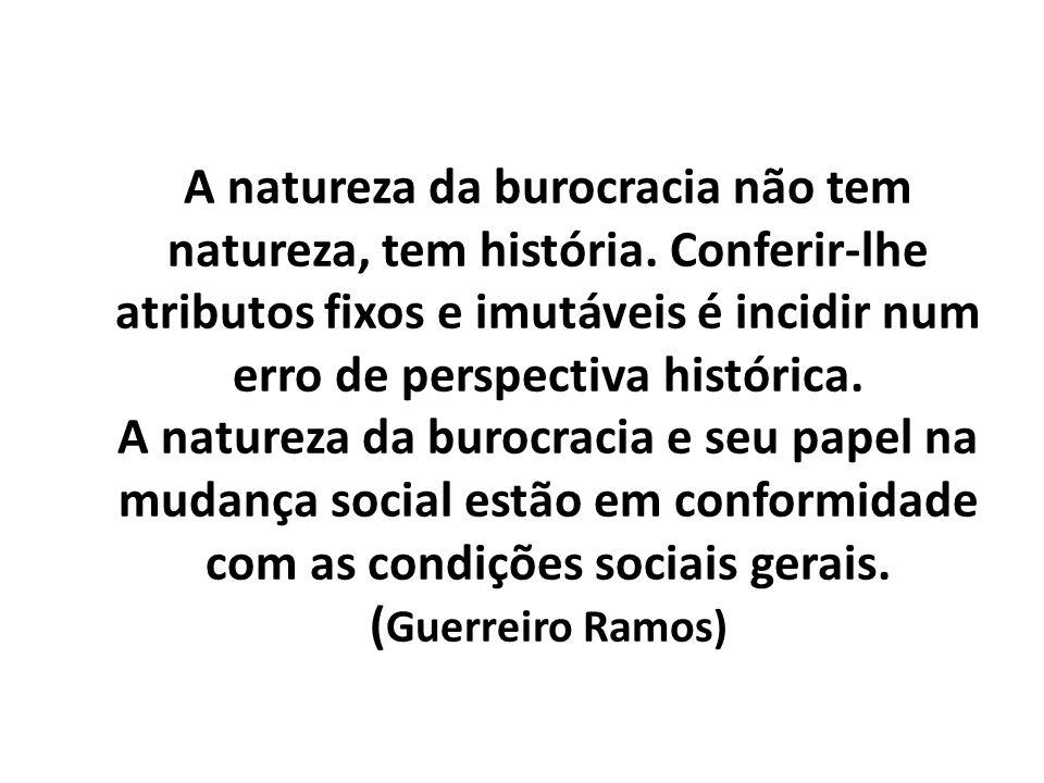 A natureza da burocracia não tem natureza, tem história. Conferir-lhe atributos fixos e imutáveis é incidir num erro de perspectiva histórica. A natur