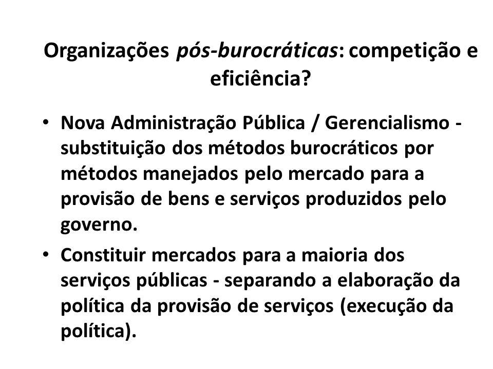 Organizações pós-burocráticas: competição e eficiência? Nova Administração Pública / Gerencialismo - substituição dos métodos burocráticos por métodos