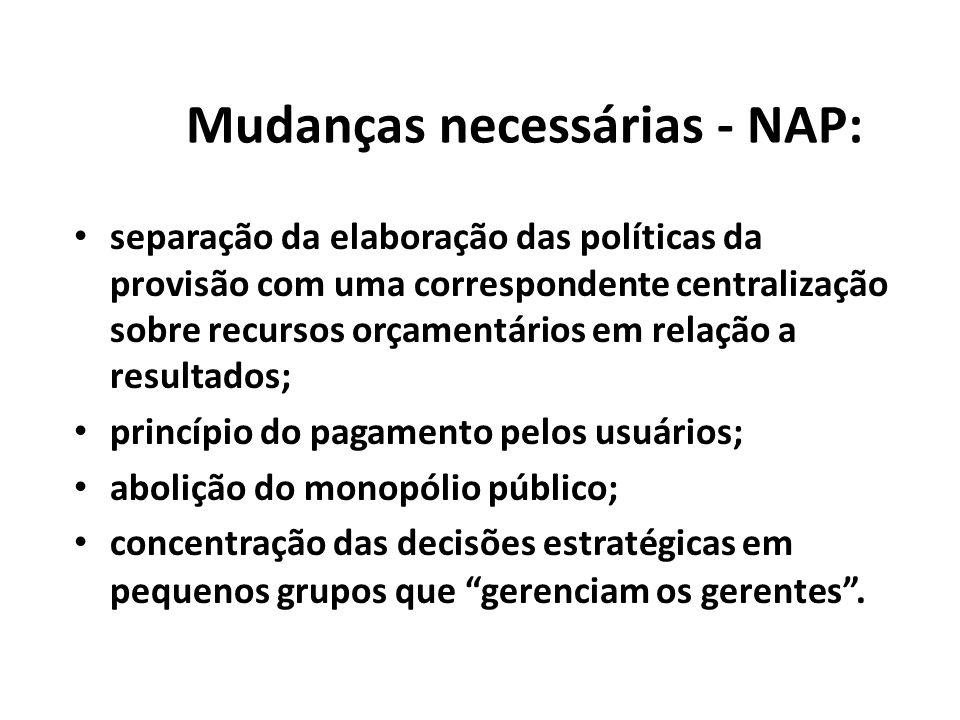 Mudanças necessárias - NAP: separação da elaboração das políticas da provisão com uma correspondente centralização sobre recursos orçamentários em rel