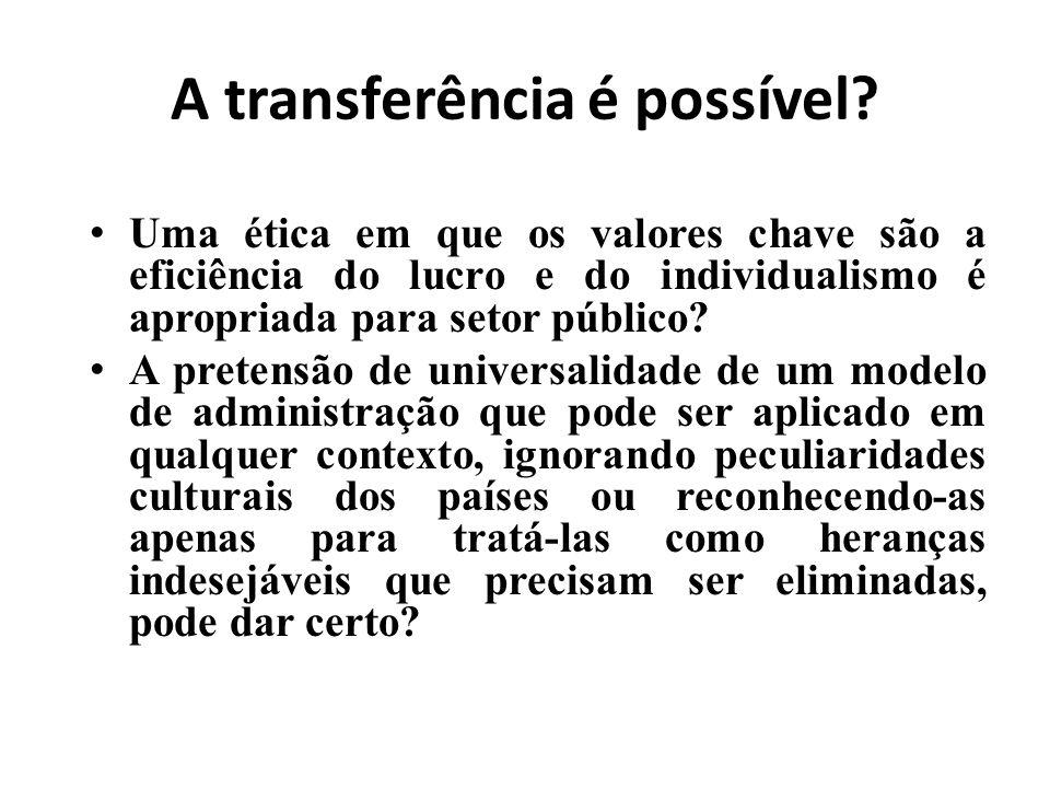 A transferência é possível? Uma ética em que os valores chave são a eficiência do lucro e do individualismo é apropriada para setor público? A pretens